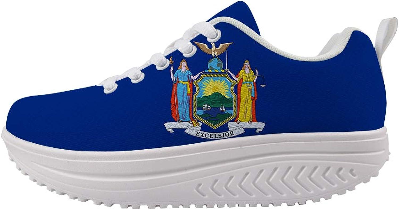 Owaheson Swing Platform Toning Fitness Casual Walking shoes Wedge Sneaker Women Goddess New York Flag