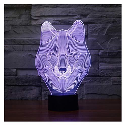 lunaoo Luz Nocturna Infantil, Lampara Escritorio Lampara 3D Lobo LED, Lámpara de Mesa 7 Colores Diferentes Luz De Noche Regalos Cumpleaños Niños