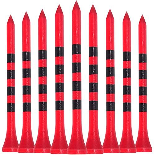 LIKOSO Golf Tees de Madera,Tees de Golf 83 mm, Paquete de 100 Tees de bambú 3-1/4 Pulgadas(Rojo)