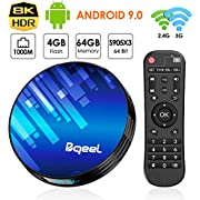 Bqeel Android 9.0 【4G+64G】 Amlogic S905X3 Android TV Box Y8 Max, WiFi 2.4G/5G 1000Mbps LAN Box Android TV 8K Bluetooth 4.0 USB 3.0