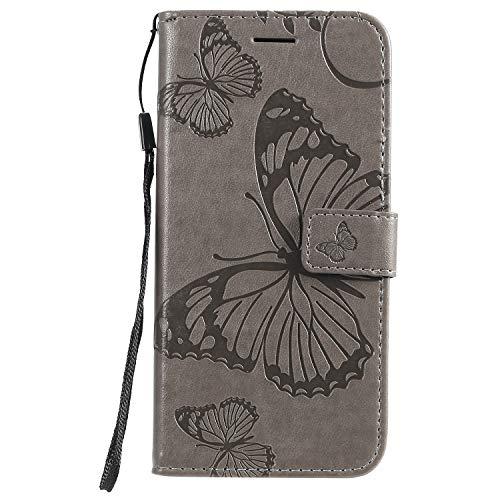 Handyhülle für Xiaomi Mi A3 Hülle Leder Schutzhülle Brieftasche mit Kartenfach Magnetisch Stoßfest Handyhülle Case für Xiaomi MiA3 - XIKAT042578 Grau