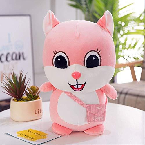 XINRUIBO Netter super weich unten Baumwolle Bohne Ding Eichhörnchen Plüschspielzeugpuppechi Mädchen Kinder zu geben Geschenke 25cm Khaki eichh?rnchen stofftier (Color : Pink, Size : 25cm)