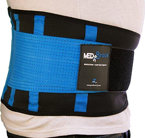 Orthopädischer Rücken- und Bauchgürtel MEDiBrace von ProfessorZ | Rückenbandage stützt und schützt vor Verletzungen und Schmerzen bei Sport, Arbeit und Freizeit (94-110cm XL, Persisches Blau)