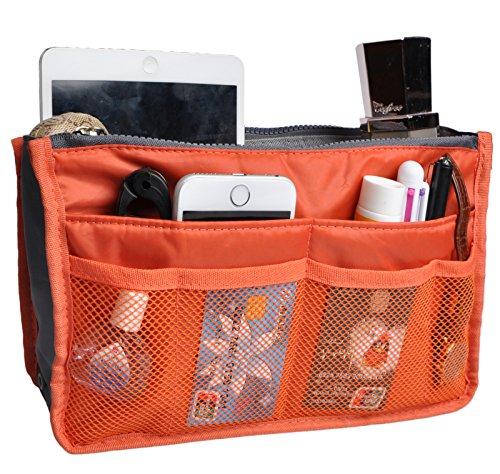 Vercord Purse Organizer Insert for Handbags Bag Organizers Inside Tote Pocketbook Women Nurse Nylon 13 Pockets Orange Medium