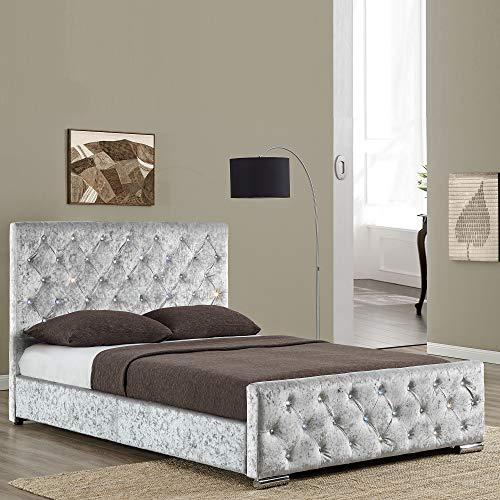 Vida Designs Arabella Double Bed, 4ft6 Bed Frame Upholstered Fabric Headboard Bedroom Furniture, Crushed Velvet Silver