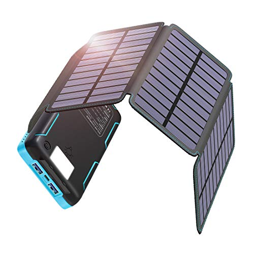 Hiluckey Solar Charger 20000mAh 18W PD Portable Charger with USB C Port Power Bank with 4 Solar Panels for iPhone, iPad Pro, MacBook, Switch, Samsung Note 10 and More