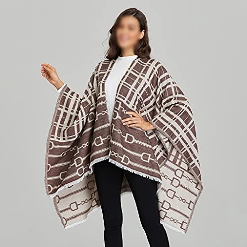 LSDJGDDE Mujeres All-Match Imitación de Doble Cara Cashmere Autumn Invierno Winter Stripe Dividir Splack Grueso Plaid Bufanda Ponchos Capas (Color : AS Show, Size : 130x150cm)