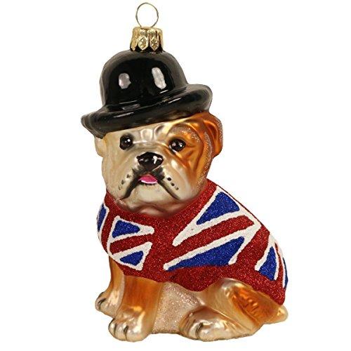 Glashänger Hund Englische Bulldogge mit Flaggenpullover + Melone | PP-2256 | 5907625751926