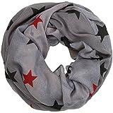 Caspar SC470 Damen Vintage Loop Schal mit Sternen Muster, Farbe:grau, Größe:One Size
