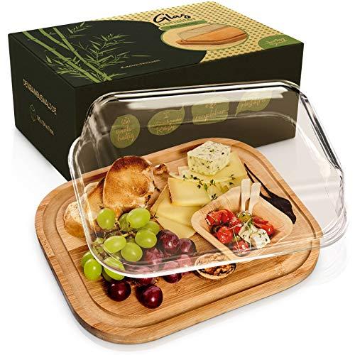 bambuswald© Aufschnittbox aus Glas & Deckel aus 100{a44e5b528ba4dccf9452dbfb3a7943622f26b0bb4a39ce5d274296d73f52be14} Bambus - 25x20x8cm | Aufbewahrung im Kühlschrank von Wurst- & Käseaufschnitt | Wurstbox Aufbewahrungsbox Käseglocke Frischhaltedose Servierplatte