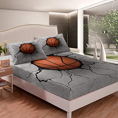 Märkeskläder pojkar basket dra-på-lakan för barn barn män sport tema sängkläder set 3D boll mönster lakan set basket med grå trasig vägg säng skydd rum dekor dubbel storlek