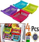 Unyks Star 4 Pcs Expandable Fridge Storage Basket Under Shelf Fridge Organiser Rack Space Saver Refrigerator Sliding Drawers - Unbreakable, Random Colours