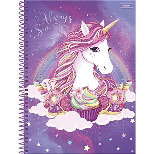 Caderno de 15 Matérias Capa Dura, Pacote com 2 Cadernos, 300 Folhas, Cores Sortidas, Foroni, Modelo 6155