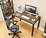 Simple Computer Desk, 47'' Writing Desk Industrial Study Table Home Office Workstation, Sturdy Desk Metal Frame Modern Spacious Desk with Large Leg Room, Brown