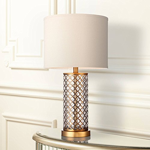 Brass and Mercury Glass Table Lamp