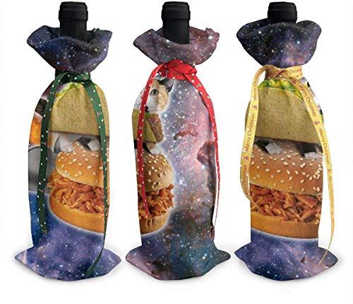 Space Cat Rocket - 3 fundas para botellas de vino, color champán, bolsa de regalo de Navidad para decoración de mesa de día festivo talla única Como se muestra en la imagen