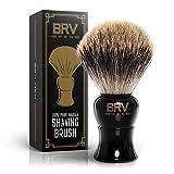 BRV MEN Shaving Brush - Pure Badger Hair - Badger Brush - Rich Lather - Shave Brush - Use with Double-Edge Safety Straight Razor or Shaving Bowl - Genuine Badger Bristles - Large Shaving Brush - Black