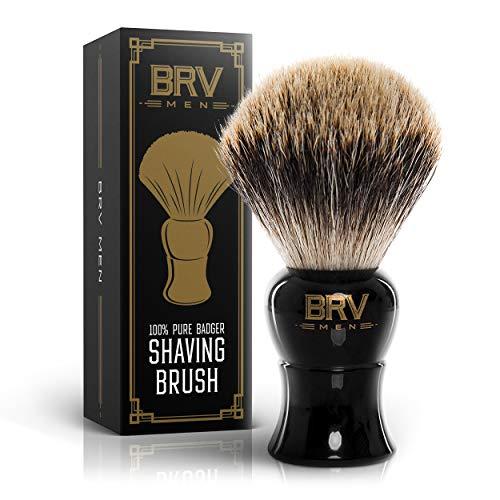 BRV MEN Shaving Brush LARGE - Pure Badger Hair - Badger Brush - Rich Lather - Shave Brush - Use with Double-Edge Safety Straight Razor or Shaving Bowl - Genuine Badger Bristles - Black