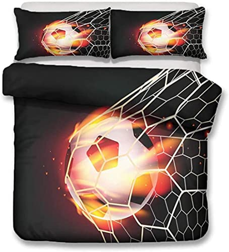 XXSCZ 3-Piece football Bedding Set Duvet Cover, Fitted Sheet and 2 Pillowcase Bed Set Cotton Bedding...