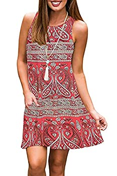 Sun Dresses for Women Casual Summer Beach Dress Sleeveless Tank Dress with Pockets  S Red Printed
