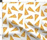 Spoonflower Stoff – Pizza, Junk Food, weißer Pepperoni,