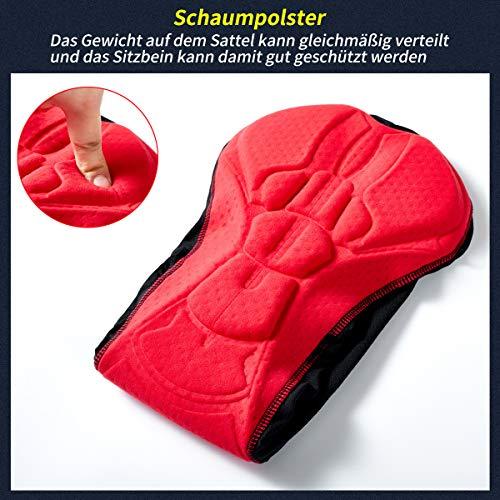 Herren Radunterhose Radsportshorts Fahrradhosen mit elastische atmungsaktive 3D Gel Sitzpolster mit Einer hohen Dichte (Black, XXL) - 6