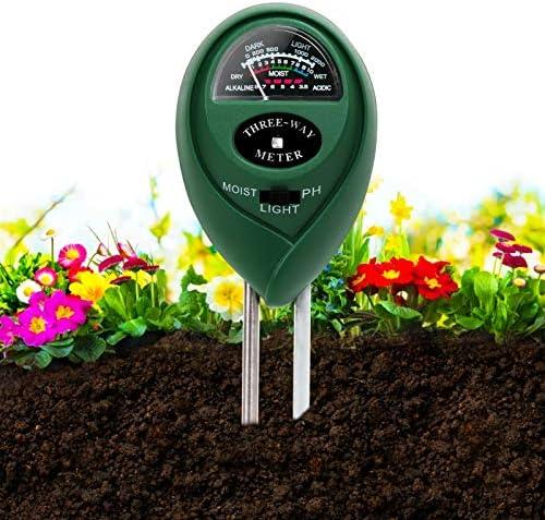 Soil pH Meter,3-in-1 Soil Moisture/Light/PH Tester Kit Gardening Tool,Indoor Outdoor Digital Plant WaterTest Meter Soil Testing Probe Sensor Analyzer Detector Reader for Lawns,Farm,Garden,Herbs