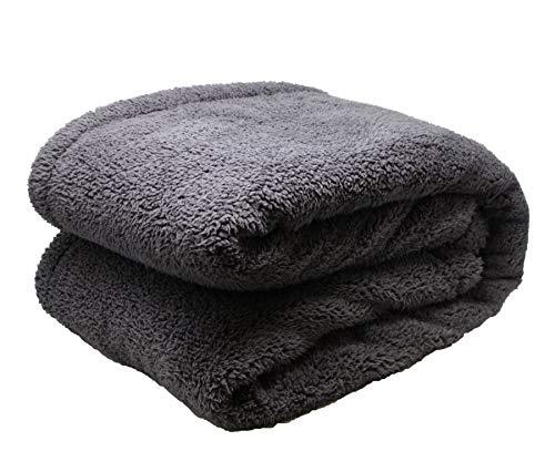 Close Up Henry´s Luxus Wohndecke - Hochwertige XXL Decke - flauschig weiches Fleece, Lammflor Plüsch (Dicke Ausführung), Sherpa Optik - warm - 150 x 200 cm - Grau/Anthrazit