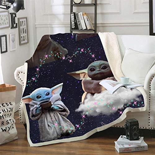 LIFUQING Star Wars Yoda Impreso Sherpa Fashion Quilt Home Grueso Doble Felpa Niños-130X150Cm