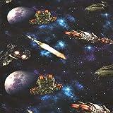 Jersey Raumschiffe, Raketen, bunt (50cm x 150cm)