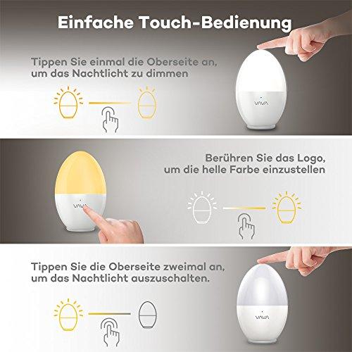 Nachtlicht Kind VAVA Baby Kinder ÖKO-TEST: GUT Nachtleuchte LED Nachtlampe Schlummerleuchte Stimmungslicht mit USB Steckdose Batterie(Baby-sicher, Bruchsicher, Augenfreundlich, Farbtemperatur: 2700K - 6500K) Ostern Geschenk