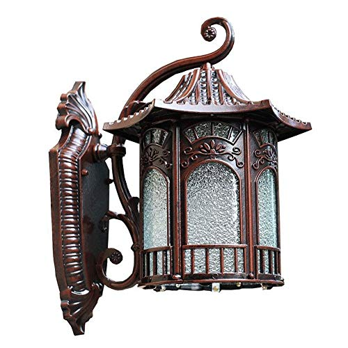 Chinese Retro Outdoor wandlamp, Waterdicht en Rustproof Garden Light Villa Light, Garden Wall Light, Aluminium Materiaal, glas Lampenkap