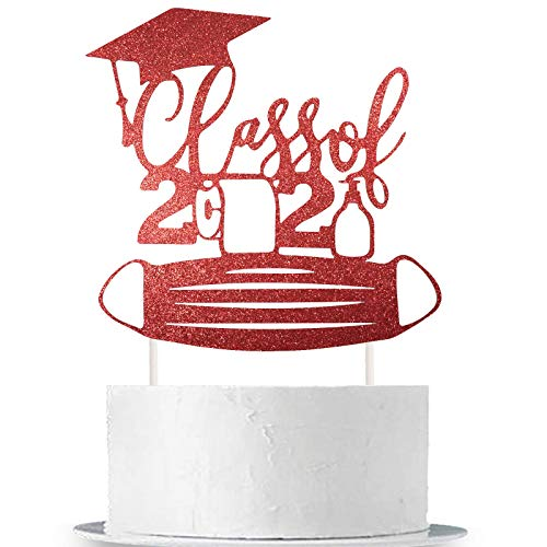 Class of 2021 Cake Topper Red Glittery 2021 Quarantined Graduation Party Cake Decor Congrats Grad/We are So Proud of You/Happy Quarantined Graduation/2021 Graduation Party Cake Supplies Decorations