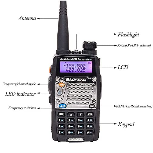 BaoFeng UV-5R Upgrade Version UV-5XP Extended Battery VHF UHF Two Way Radio 7.4v 8W Dual-Band Walkie Talkie 2 Pack 5