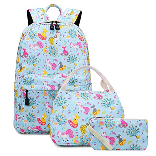 Abshoo Lightweight Cute Unicorn Backpacks For School Kids Girls Backpack With Lunch Bag (Set Unicorn and Fox Blue)