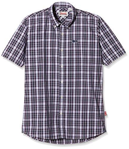 Lonsdale Herren Kurzarmshirt Hemd Slim Fit Shirt Richy Short Sleeve schwarz (schwarz/rot/weiss) Small