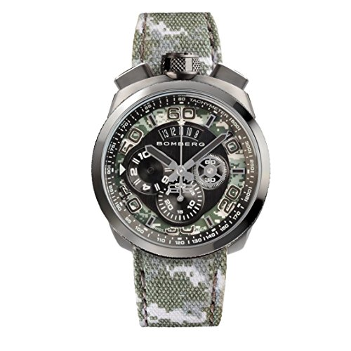 Bomberg Men's Bolt 68 45mm Multicolor Cloth Band IP Steel Case Quartz Black...