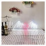 Letrero de neón Mr and Mrs, letrero de neón LED personalizado para decoración de pared, letrero artístico para luces de fiesta de boda, decoración de habitación, neón ( Size : 24x8.4in(60*21cm) )
