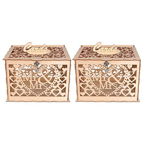 STOBOK 2 Piezas de Caja de Tarjeta de Boda de Madera Mr & Mrs Hallow Out Caja de Tarjetas de Regalo Titular de La Caja de Dinero con Cerradura Rústica Decoración de La Boda para La