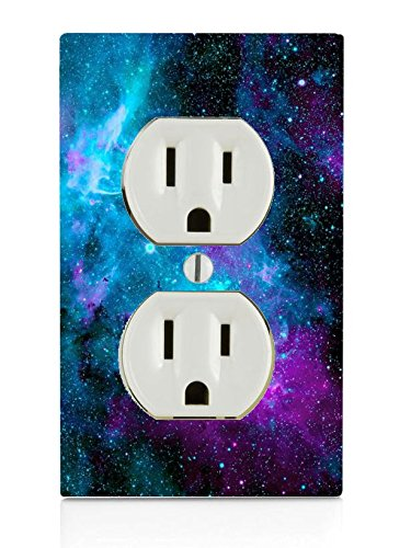 Trendy Accessories Nebula Galaxy Space Design Pattern Print Image Electrical Outlet Plate Cover (NOT A Decal) Actual Printed Outlet Cover
