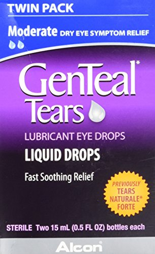 GenTeal Tears Lubricant Eye Drops, Moderate Liquid Drops, Twin Pack (Each 2 Count of 0.5 Fl Oz) 1 Fl Oz