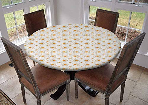 Ronde tafelkleed keuken decoratie, tafelblad met elastische randen, Eenvoudige fotosynthese Scheme Plant Zon Moleculen Chemische Ketting Groei Ecologie Multi kleuren, Wasbaar tafelkleed