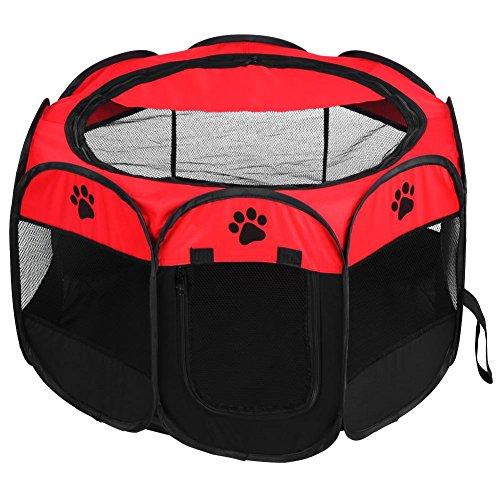 Lyrlody - Valla para perros, tienda para mascotas, tienda plegable para mascotas, de tela Oxford, interior y exterior, diámetro 81 x 45 cm, marrón/rojo (rojo)