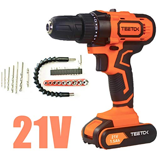TEETOK 21V Drill Cordless Screwdriver Combi Drill with Action Magnet, 29PCS 45N.m Impact Power Tool, Fast Charger, 17 + 1 Torque Setting Drill