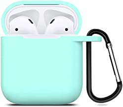 Digcreat Compatible for AirPods Case with Keychain, Shockproof Protective Premium Silicone Cover Skin for AirPods Charging Case 2 & 1 (AirPods 1, Mint Green)