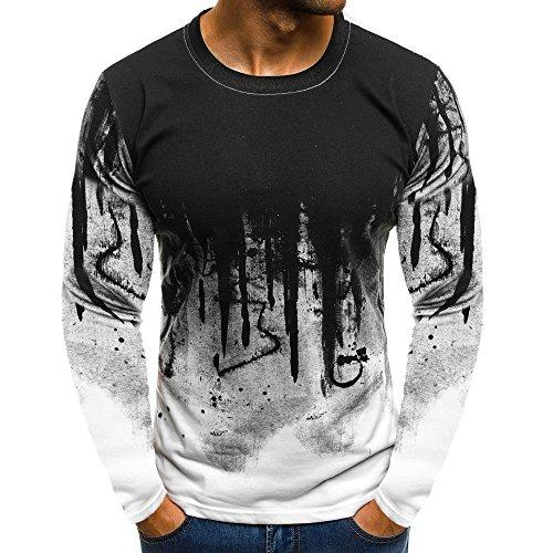 Xmiral Tops Sweatshirt Herren Slim Fit Short Sleeve/Langarm-Muskel-beiläufige Hemden(XL,Lange Ärmel-Weiß)