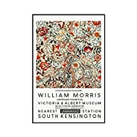 zkpzk 抽象ウィリアムモリスフラワーリーフフルーツウォールアートキャンバス絵画北欧のポスターとプリント壁の写真リビングルームの装飾-40X60Cmx1フレームなし