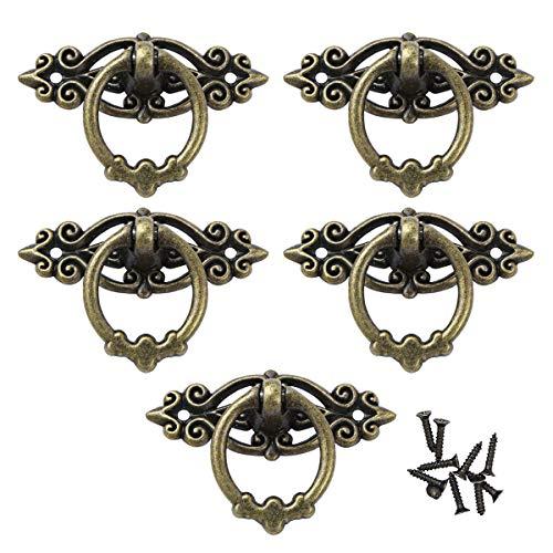 YOOJIA 5Pcs Handgriff Alte Griffe für Kommode Schrank Kleiderschrank Schublade Ring Griffe Antik Möbelgriffe Vintage Türgriffe mit Schrauben Antikes Messing One Size