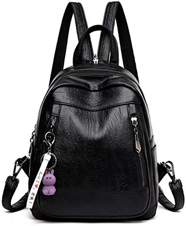 QYYDSJB Neue Schne Kaninchen Quaste Rucksack Weiblichen Reiverschluss Schultasche Für Mdchen Designer Marke Umhngetasche Für Frauen Freizeit Reisetasche 13 Zoll Schwarz
