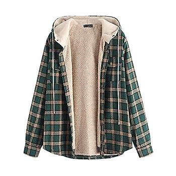 ZAFUL Men s Casual Plaid Fleece Hooded Jacket Unisex Flannel Lined Long Sleeve Drawstring Fuzzy Hoodie Shirt Coat